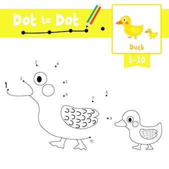 Kaczka i mała kaczka gra kropka-kropka i kolorowanka