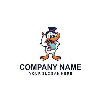 Kaczka kreskówka logo wektor