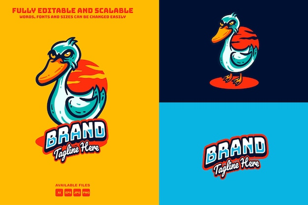 Kaczka maskotki logo edytowalny tekst