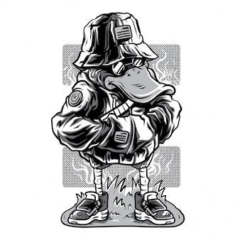 Kaczka w stylu czarno-biały ilustracja