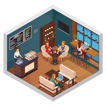 Kafejka internetowa wnętrze restauracji pizzeria bistro stołówka skład izometryczny gości korzystających z wi-fi na ilustracji wektorowych gadżetów