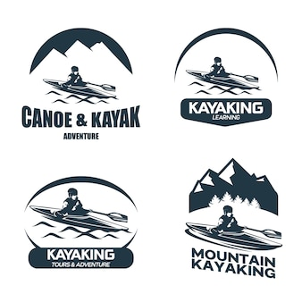 Kajak i kajak badge logo designs template set