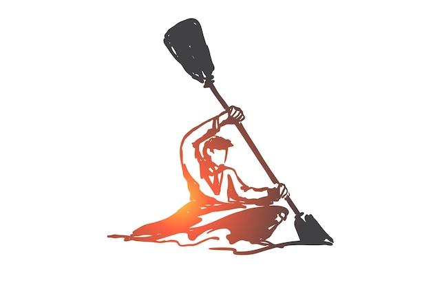 Kajak, sport, indywidualne, wiosło, koncepcja działalności. ręcznie rysowane człowiek żeglujący z kajakiem szkic koncepcji.