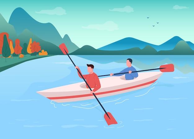 Kajakarstwo płaski kolor ilustracja. kajakarstwo rekreacyjne. sportowiec pływanie z wiosłem w łodzi. aktywny styl życia. zespół sportów wodnych 2d postaci z kreskówek z krajobrazem w tle