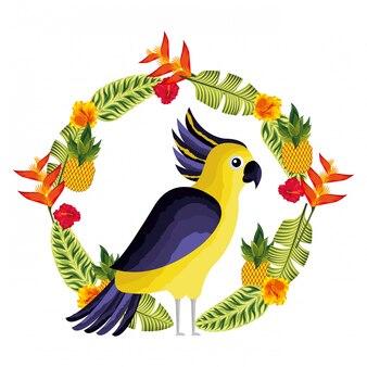 Kakadu egzotyczne kwiaty pozostawia tropikalne