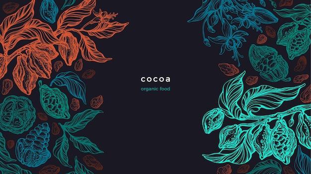 Kakao. graficzna gałąź, tekstura liści, fasola. sztuka ilustracja
