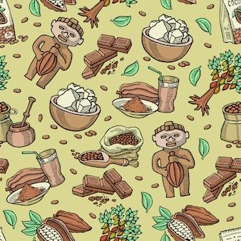 Kakaowy wzór kreskówka czekoladowa słodka żywność z ziarna kakaowego ilustracja drzewa kakaowego z owoców tropikalnych i choco kakao w proszku na tle napojów napojów