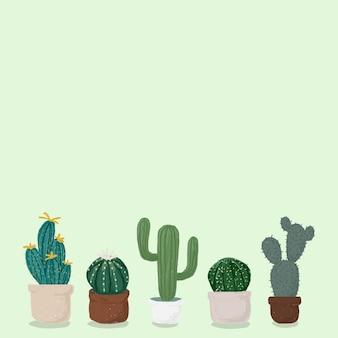 Kaktus garnek zielone tło wektor ładny ręcznie rysowane stylu