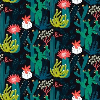 Kaktus i soczysty wzór bezszwowa tekstura na tle kaktusów na papierze z tkaniny