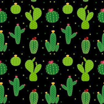Kaktus ikona kolekcja bezszwowe wzór