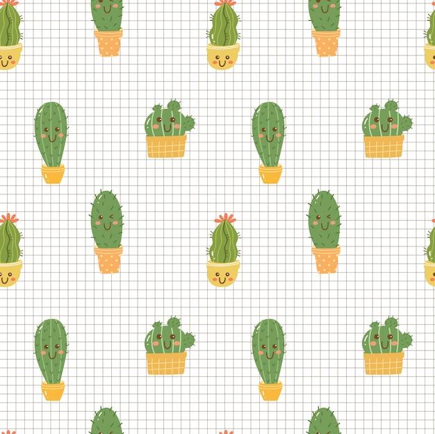 Kaktus kawaii bez szwu