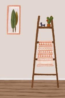 Kaktus na drewnianej półce styl szkic wektor