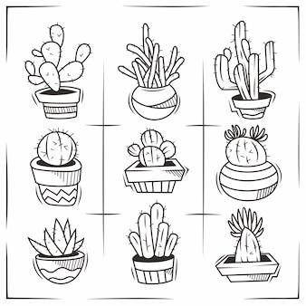 Kaktus ręcznie rysowane doodle