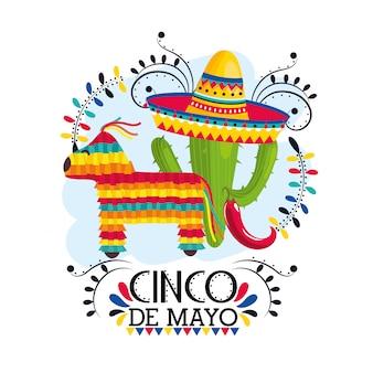 Kaktus rośliny z kapeluszem na meksykańskie wydarzenie
