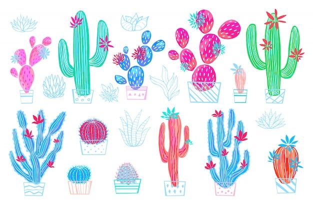 Kaktus soczyste dzikie kwiaty kolorowe akwarela szkic styl wydruku. botaniczna houseplant jaskrawa kolekcja na białym tle. wyciągnąć rękę.