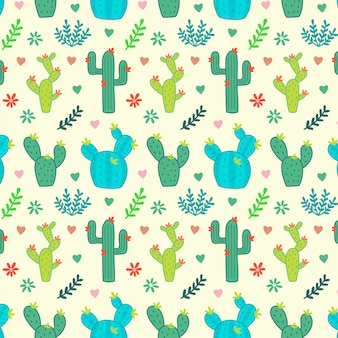 Kaktus, sukulenty, kwiatowy wzór