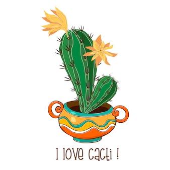 Kaktus w ładnym glinianym garnku