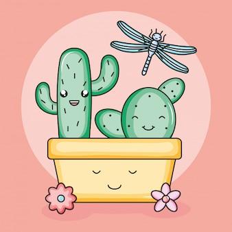Kaktus w ceramicznym garnku i kawaii smoka