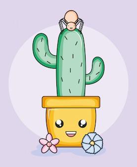 Kaktus w ceramicznym garnku i pająk w stylu kawaii