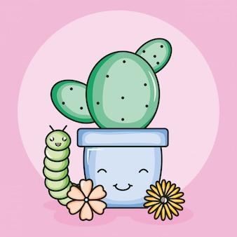 Kaktus w ceramicznym garnku i robakowym stylu kawaii
