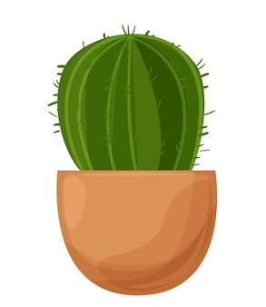 Kaktus w doniczce dekoracyjna roślina domowa na białym tle ilustracji wektorowych