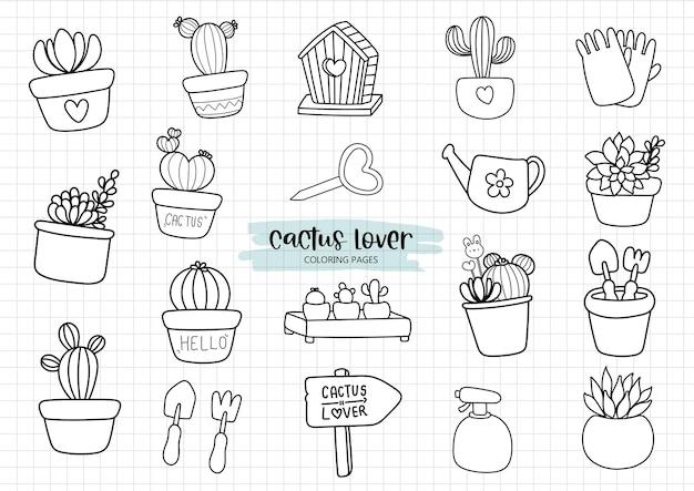 Kaktus w doniczce kolorowanki, kaktus doniczkowy doodle.