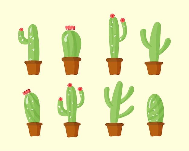 Kaktus w doniczkach, domowe rośliny z kwiatami.zielona roślina, natura, kwiatowa i egzotyczna, dzika botanika tropikalna.zestaw doniczek dla.mieszkanie jest w stylu kreskówki. ilustracja,.