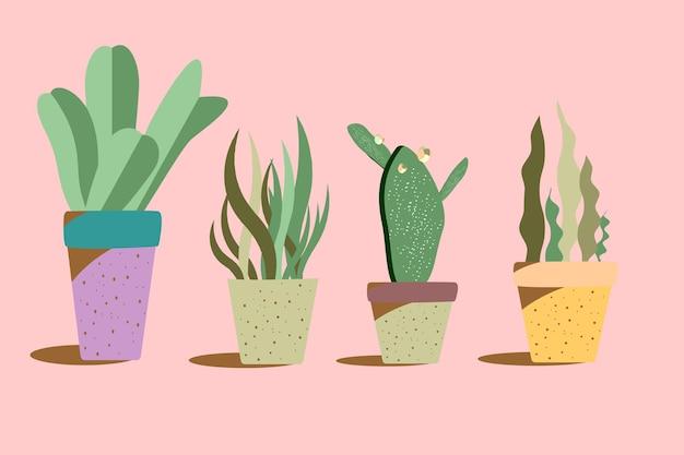 Kaktus w doniczkach rośliny doniczkowe zdobione na białym tle na różowym tle vector