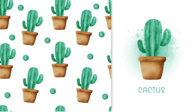 Kaktus wzór i kartkę z życzeniami.