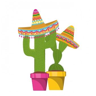 Kaktus z garnkiem i meksykańską kapeluszową ikoną