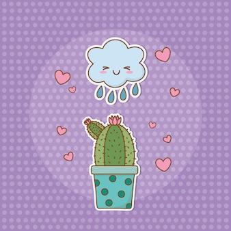 Kaktusowa naklejka w stylu kawaii