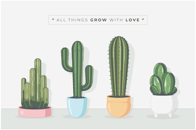 Kaktusowa roślina śliczna kolekcja ilustracji