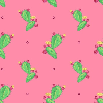 Kaktusowy kwiat, bezszwowy wzór. Logo Pot Cactus. Ikona kaktusa