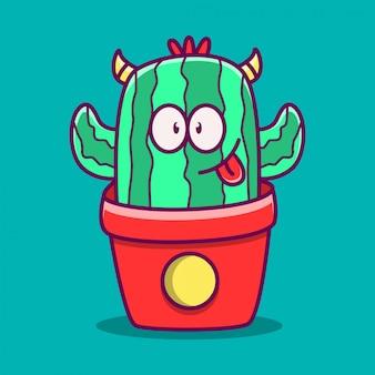 Kaktusowy potwór kreskówka doodle ilustracja