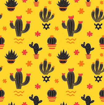 Kaktusowy ręka rysuje stylowego piękna bezszwowego wzór. ilustracja kolor szwu w kolorze żółtym. kaktus, soczysty w doniczce