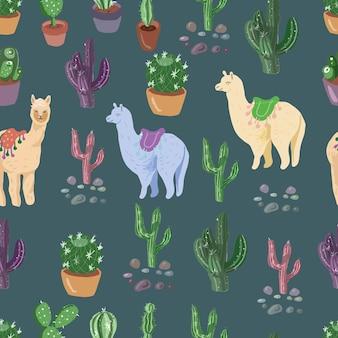 Kaktusy i alpaki słodkie bezszwowe patern