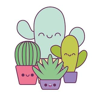 Kaktusy kawaii rośliny bajki