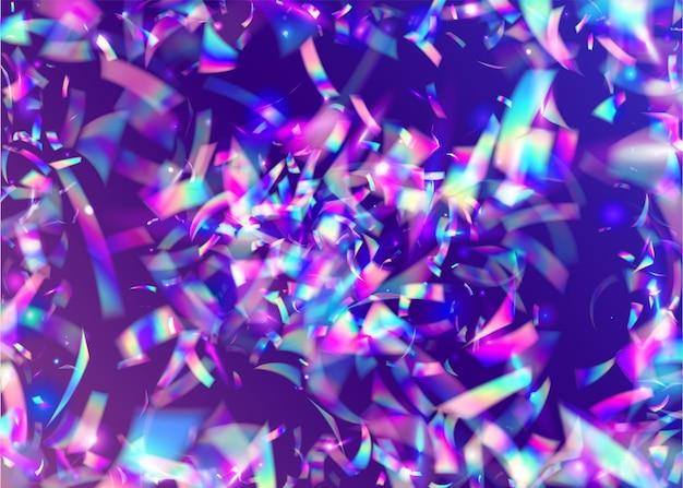 Kalejdoskop tło. brokat bokeh. rozmycie ulotki. jasna sztuka. nowoczesna folia. retro dekoracja festiwalu. spadające błyszczy. różowe metalowe konfetti. niebieskie tło kalejdoskopu
