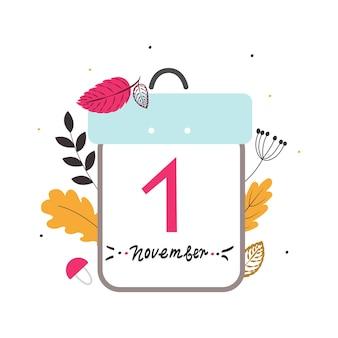 Kalendarz 1 listopada. stylowa koncepcja początku miesiąca jesieni. na tle stylizowane liście, gałęzie, grzyby i jagody. ilustracja wektorowa, ręcznie rysowane