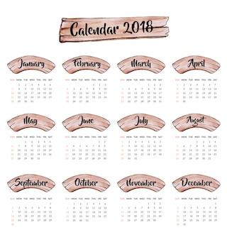 Kalendarz 2018 drewniany design