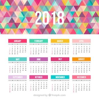 Kalendarz 2018 z kolorowymi trójkątami