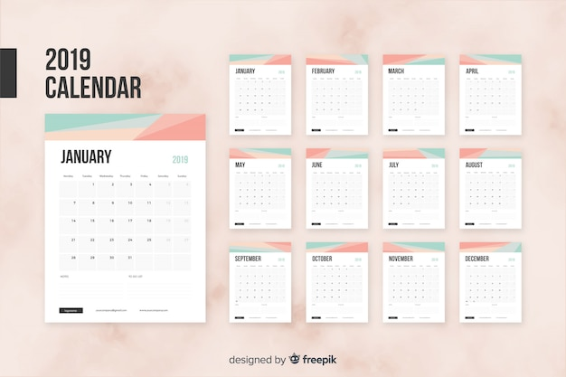 Kalendarz 2019 miesiąca