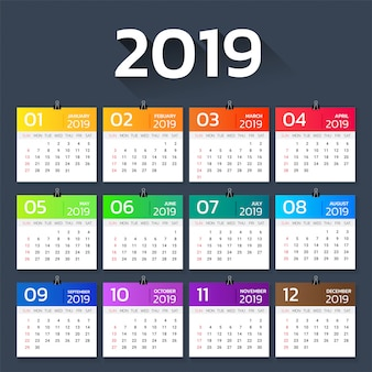 Kalendarz 2019 roku kolorowy gradient szablon.