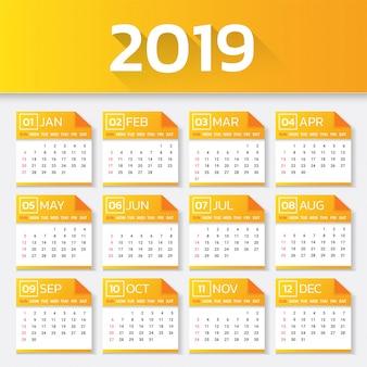 Kalendarz 2019 roku. tydzień rozpoczyna się w niedzielę.