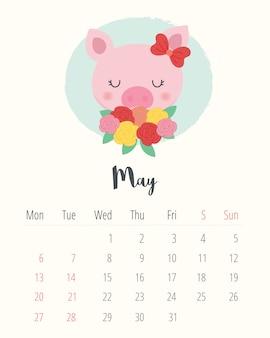 Kalendarz 2019. słodka świnia. miesiąc maj.