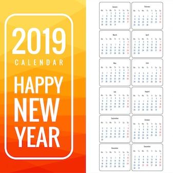 Kalendarz 2019 szablon wektora