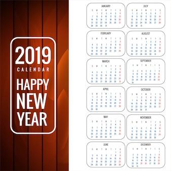 Kalendarz 2019 szablon z drewnianym tekstury tłem
