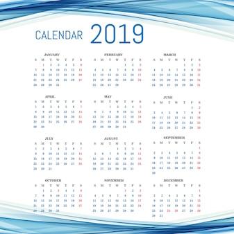 Kalendarz 2019 szablon z falowym tłem
