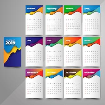 Kalendarz 2019 trendy gradienty w stylu origami