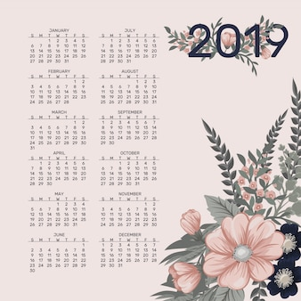 Kalendarz 2019 wektor wzór szablonu wiosennych kwiatów.